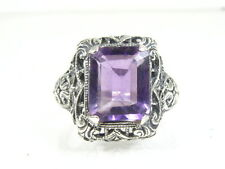 Pretty Sterling Silver Natural Emerald Cut 3ct Amethyst Filigree Ring G10