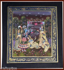 Original Radha Krishna Miniature Painting on Silk with Natural Colors