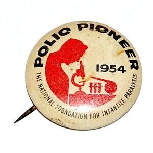 Vintage 1954 Polio Pioneer Vaccine Advertising Litho Pinback Button Pin