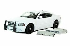 WELLY DODGE CHARGER R/T POLICE CAR DIE CAST 1/24 W/ HARD CLEAR SHOWCASE WHITE