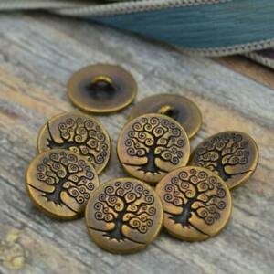 """TierraCast Metal Buttons TREE Of LIFE Button Antique BRASS 16mm Qty 4 to 20 5/8"""""""