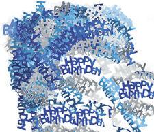 Deko Konfetti Geburtstag Blau/Silber Metallic Aufschrift HAPPY BIRTHDAY 30x15mm