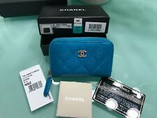 CHANEL Quilted PATENT LEATHER Zip Around Coin Purse Wallet BLUE USED 3x