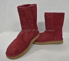 NEW UGG Crystal Diamond Classic Short Boots in Oxblood-Maroon US Women's Size 7M