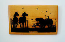 Signed Harvey Barnard Silhouette Painted WallArt Wood 1985 The Replacement