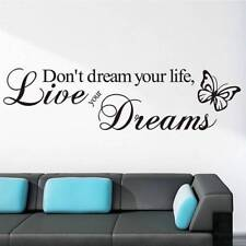 Art Removable Word Live Your Dream Butterfly Quote Wall Sticker Room Decor