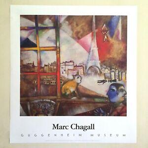 "MARC CHAGALL RARE 1995 LITHO PRINT MUSEUM POSTER ""PARIS THROUGH THE WINDOW"" 1913"