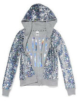 NWT VICTORIA'S SECRET PINK ZIP HOODIE FASHION SHOW 2013 size MEDIUM GRAY SEQUIN
