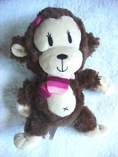 "Children's Place Super Soft 10"" Monkey Plush Doll Girl Pink Scarf Stuffed Animal"