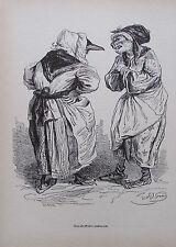 Grandville ZWEI ALTE WEIBER ZANKTEN SICH Reprint aus 1842 Reproduktion art print