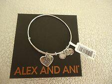 Alex and Ani PATH OF LIFE HEART Shiny Silver Charm Bangle New W/ Tag Card & Box