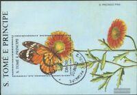 Sao Tome e Principe Block181 (kompl.Ausg.) gestempelt 1988 Blumen und Schmetterl