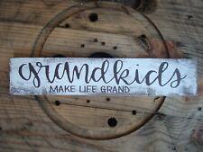 Grandkids make life grand wood sign. Handmade farmhouse decor. rustic wood sign.