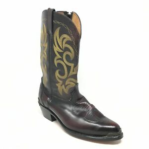 Men's Western Boots Cowboy Shoes Size 12 W Wide Burgundy Leather Side Zip Up