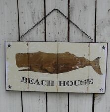 WHALE BEACH HOUSE distressed metal sign/plaque farmhouse country home decor