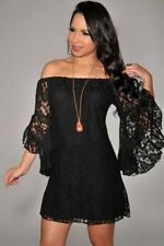 Women Sexy Off-The-Shoulder Allover Lace Floral Mini Party Clubwear Dress S-XL