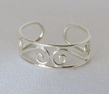 Sterling Silver Wire Swirl Toe Ring Adjustable Handcrafted Polish Finish
