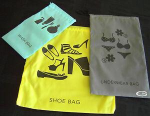 Travel bags 3pack or Shoe Underwear Wash bag Drawstring Organizer Storage Bag,