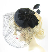 Black Feather Birdcage Veil Fascinator Headpiece Vintage Art Deco Cocktail S67