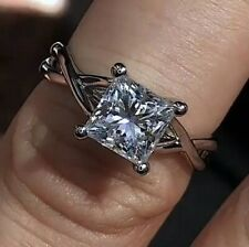 For Woman X Prong 925 Silver Twisted Princess Cut Solitaire Engagement Rings