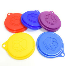 1X Pet Food Can Cover Lid Dog Cat Pets Tins Plastic Reusable Cover Cap Colourful