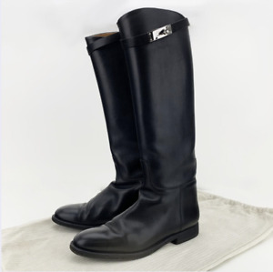Authentic Hermes Boots Black Leather Riding Size 38 Italy