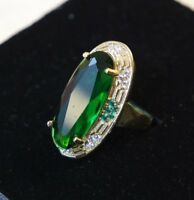 925 Sterling Silver Handmade Antique Turkish Emerald Ladies Ring Size 7-9