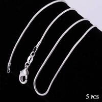 Fashion 5pcs 925 Sterling Solid Silver Necklace 1mm Snake Chain 16-30inch LJ