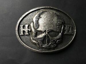 Harley-Davidson men's  skull belt buckle.vintage old silver plaiting.#97856-10VM