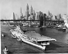 Old Photo. New York City.  USS Tarawa Aircraft Carrier (CV-40) - Brooklyn Bridge