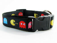 "Pacman dog collar handmade adjustable buckle collar 1"" or 5/8"" wide or leash"