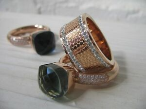 Edler Qudo Ring VENOSA * roségold * Gr.54-58 * mit Glitzer Zirkonia weiß *