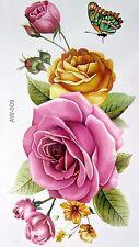 ROSE ROSA GIALLO Cuore Fiore Tatuaggi Temporanei Corpo 3D Rose Tatuaggi IMPERMEABILE