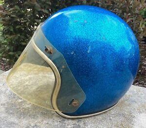 Motorcycle Helmet Arthur Fulmer AF40 Blue Metallic with Face Shield Large