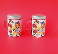 New ListingCampbell's Soup Kids Large Metal Salt & Pepper Shakers w/Handles