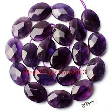 """15x20mm Natural Amethyst Faceted Oval Shape DAY Gemstone Loose Beads Strand 15"""""""