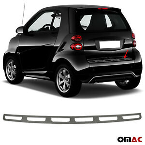 Dark Brushed Chrome Rear Bumper Trunk Sill Cover Fits Smart ForTwo 2008-2015