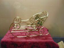 New Old Stock Home Interiors HOMCO #5546-DE Brass Plated Christmas Santa Sleigh