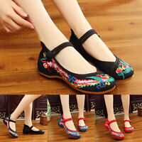 Chinese Embroidered Phoenix Flower Cloth Shoes Women Mary Jane Flat Loafer Shoes