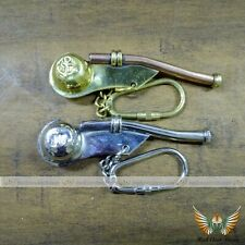 Handmade Combo Gift Set Of Brass Vintage Nautical Ships Whistle Key Chain Ring