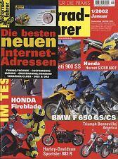 Motorradfahrer 2002 1/02 VOR Aprilia RS250 Beta Euro 350 BMW F650CS GS Fireblade