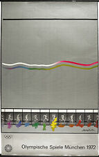 Vtg Orig. Sport Poster Munich Olympic Games, München 1972 swimming Sign.