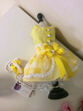 DOG DRESS YELLOW GINGHAM SMALL PET CAT HAIR-BOW PUPPY HARNESS DRESS