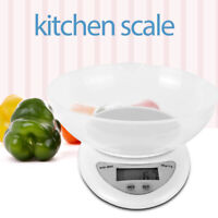 5000g White Digital Kitchen Scale Diet Food Balance Compact With Bowl/Batteries