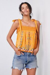 Anthropologie Orange Swing Embroidered Tank Top - Size M