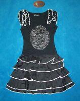 schickes Kleid mit Glitzer und Stufen schwarz festlich   92/98  NEU
