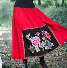 BNWT Bohemian ETHNIC Folk EMBROIDERED Red LINEN SWING SKIRT Embroidery Panel