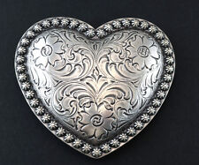WESTERN ENGRAVED ANTIQUE SILVER COWBOY RODEO BERRY HEART TROPHY BELT BUCKLE NEW