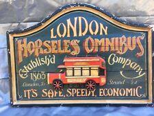 "Antique  Heavy Wooden Sign London Omnibus Theme Vivid Colors 37""x27"" Charming"