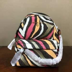 Michael Kors Slater XS Convertible MK Signature PVC Convertible Backpack Brown